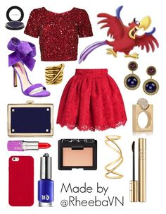 """""""Iago (Aladdin)"""" by rheebavn ❤ liked on Polyvore featuring Betsey Johnson, Parker, Valentino, MAC Cosmetics, Lime Crime, Chanel, Tory Burch, Gucci, NARS Cosmetics and Urban Decay"""