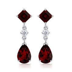 Angara Pear Garnet and Diamond Flowerhead Cluster Earrings Yellow Gold GZ9Anm7