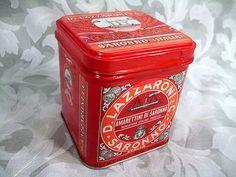 """Sold Vtg D. Lazzaroni  C. Saronno Milano Biscotti Mini Tin Box 4"""" Tall Made in Italy"""