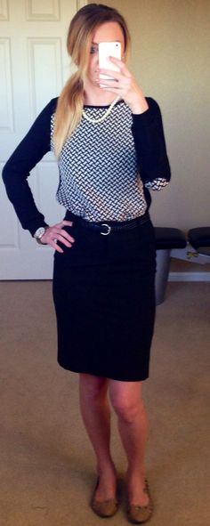 Work outfit. Sweater and black pencil skirt.