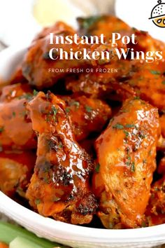 Instant Pot Chicken Wings made from fresh or frozen chicken wings, are super tender and juicy! Smothered in tasty Buffalo sauce and broiled until nice and crispy. #Buffalo #pressurecookerrecipe #frozen #easy #best #instantpot #crispy Foil Baked Chicken, Chicken Skillet Recipes, Chicken Wing Recipes, Easy Dinner Recipes, Appetizer Recipes, Breakfast Recipes, Dessert Recipes, Appetizers, Easy Weeknight Meals