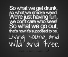 So What we get drunk, so what we smoke weed. We're just having fun, we don't care who sees! So what we go out, that's how it's supposed to be. Living Young Wild and Free