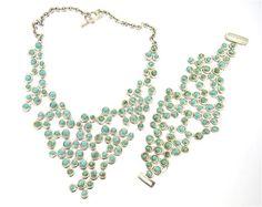 Slane & Slane Sterling Turquoise Mesh Necklace Bracelet Available in the April 27 Auction on hamptonauction.com !!