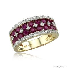 Yellow Gold Diamond & Ruby Ring in Gemstone Rings Diamond Wedding Rings, Wedding Ring Bands, Diamond Rings, Gemstone Rings, Emerald Rings, Sapphire Rings, Ruby Rings, Ruby Jewelry, Diamond Jewelry
