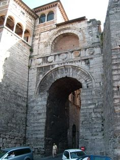 """The """"Arco Etrusco,"""" or Etruscan Arch, in Perugia. It was built in the 3rd century B.C. The words """"Augusta Perusia"""" were added after the conquest of the city by the Romans in about 40 B.C., Perusia being the ancient name of the city.  www.dtourstravel.com"""