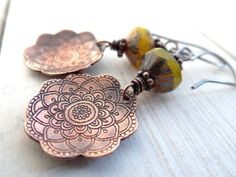 Copper Flower Drops // etched flowers with by LostSparrowJewelry, $24.00