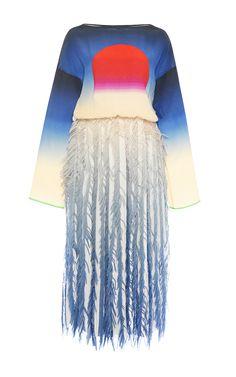 // Chiffon Fringe And Degradé Bateau Dress by MARCO DE VINCENZO