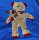 For Sale - Brookstone NAP Brown Teddy Bear Red Scarf 14""