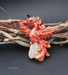Phoenix pendant - citrine phoenix bird necklace - fantasy jewelry - fire bird - citrine wiccan amulet pendant - harry potter jewelry #phoenix #firebird #harrypotterjewelry #harrypotter #citrine #rawcitrine #magic #magicanimal #wiccan #phoenixbird #pendant #polymerclay #fimo #fimoclay #clay