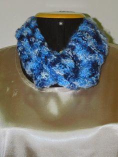Luz Weber: Gola de tricô azul mesclado lã Tiffani