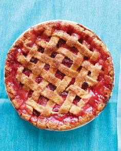 Rhubarb-Strawberry Lattice Pie I pared down the big, thick stalks. I used 1lb. strawberries to 3 cups chopped rhubarb. Martha's recipe is perfect! 1 pound rhubarb = 2 cups cooked rhubarb.