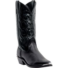 Laredo Mens Black Lizard Print Leather Atlanta J Snip Toe Cowboy Boots