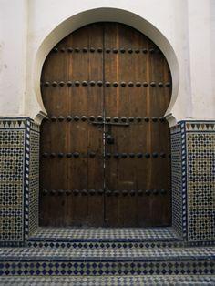 Door in the Quartier Des Andalous, Medina, Fes El Bali, Fez, Morocco, North…