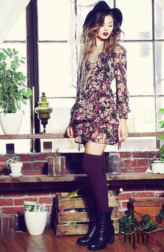 Love the fall burgundy colors with the over the knee socks. | MakeMeChic.com