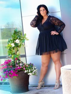 Whimsical Wonderland Lace and Tutu Plus Size Dress in Black