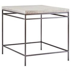 this handsome side table, showcasing a metal base and distressed ash wood top.