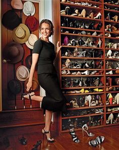 Jessica Alba's shoe closet....if you are Jessica Alba....why not?