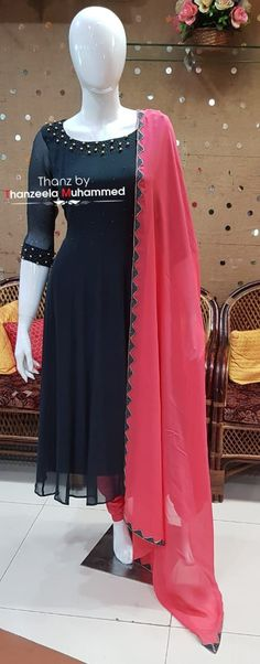 Thanz's couture ( Long Dress Design, Stylish Dress Designs, Fancy Blouse Designs, Designs For Dresses, Stylish Dresses, Silk Kurti Designs, Kurta Designs Women, Kurti Designs Party Wear, Party Wear Indian Dresses