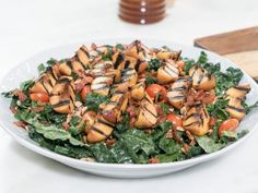 Grilled Peach & Bacon Salad Recipe -- This would be delicious for Summer... I'd use a lettuce mix. All Kale is a bit much... Kale mixed with other greens is much better!  Would also add grilled or roast chicken to this for protein, as an entree. Don't think the dressing is adequate for the whole salad -- think I might just be able to add olive oil to the honey, dijon, & vinegar though.