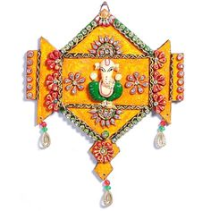 Wooden Orange Clay and Kundans Ganesh Hanging Wall Art - Online Shopping for Diwali Pooja Accessories by Apno Rajasthan Clay Wall Art, Clay Art, Diwali Decorations, Festival Decorations, Clay Crafts, Arts And Crafts, Diwali Craft, Diwali Gifts, Rajasthani Art