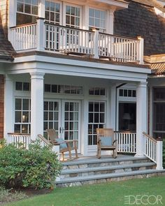 I love the front porch & the veranda Porch And Balcony, House With Porch, Balcony House, Bedroom Balcony, Side Porch, Decks And Porches, Front Porches, Outdoor Rooms, Outdoor Living