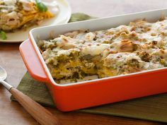 Rachael's enchilada sauce with poblano peppers, tomatillos and cumin gives just the right amount of heat to her Roast Chicken Enchilada Suizas Stacked Casserole.