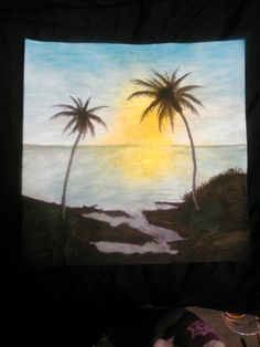 Water color Caribbean sunset by Janet Lambert 12x12