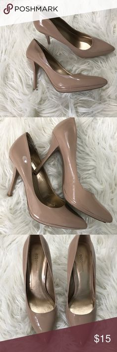 BCBGeneration Nude patent leather pumps size 7.5B BCBGeneration nude patent leather pointed toes pumps size 7.5B. Has marks and signs of wear on different parts of the shoes (pictured) but still in good condition. Great basic shoe. Ask any questions before purchasing. Bundle and save! BCBGeneration Shoes Heels