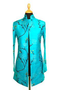 Silk Long Nehru Jacket in Brilliant Turquoise - £265 #silk #jacket #fashion #women #shibumi