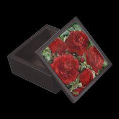 Red Carnation Flowers Keepsake Box Premium Gift Boxes #trinketbox