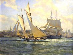 The America and sloop of war Marion leave Boston in the summer of J. Russell Jinishian Gallery, Inc. Sloop Of War, Nautical Art, Tall Ships, Sailing Ships, 19th Century, Sail Boats, Painted Canvas, America, History