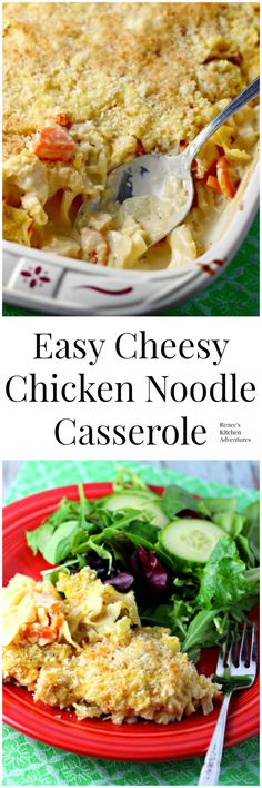 Easy Cheesy Chicken Noodle Casserole | Renee's Kitchen Adventures:  Comfort food made easy!
