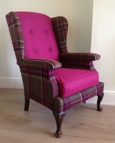 Restored Vintage Parker Knoll Wingback Chair - etsy Do the sides in back and do the back and bottom cushions in comic book print Bohemian Furniture, Funky Furniture, Furniture Styles, Shabby Chic Furniture, Funky Chairs, Vintage Chairs, Wingback Armchair, Armchair Covers, Knoll Chairs