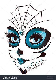 stock-vector-sugar-skull-girl-face-with-make-up-for-day-of-the-dead-dia-de-los-muertos-315012128.jpg (1125×1600)