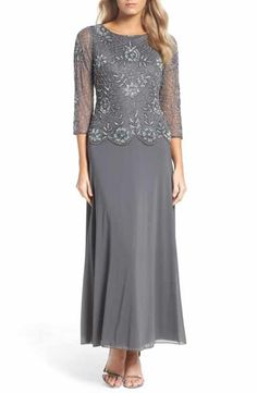 Pisarro Nights Pisarro Nights Embellished Mesh Gown (Regular & Petite) available at Mother Of The Bride Dresses Long, Mother Of Bride Outfits, Mothers Dresses, Formal Dresses With Sleeves, Plus Size Dresses, Elegant Dresses, Grey Dresses, Mob Dresses, Best Wedding Dresses