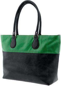 Banana Republic Joanna   Green and Black colorblock leather tote