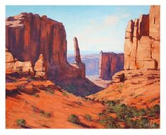 CANYON Painting Desert Landscape Painting Traditional Art by listed Artist G. Landscape Drawings, Cool Landscapes, Landscape Art, Landscape Paintings, Landscape Photography, Desert Landscape, Acrylic Paintings, Oil Paintings, Painting Art