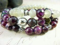 Plum Faceted Agate Bracelets Winter Purple by EarthEnergyGemstones, $105.00
