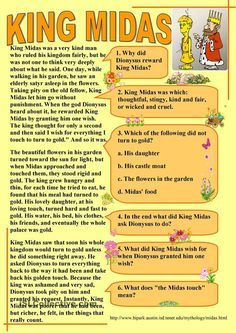 This is a nice chart of the story of King Midas simplified. It goes over the basic plot of the story of King Midas who turns everything he touches into gold. Comprehension Exercises, Reading Comprehension Activities, Reading Worksheets, Worksheets For Kids, Printable Worksheets, English Primary School, English Classroom, English Teachers, English Language Learning