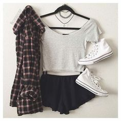 Grey Crop Top and Black Shorts via