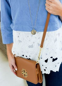 Blue Lace Top + Outfit Staples // www.amybelievesinpink.com
