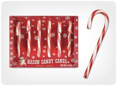Looks like a regular candy cane . but flavored like bacon! Set of 6 Bacon Candy Canes Size: x x cm x 3 cm x 1 cm) View more bacon stuff, candy canes Christmas Candy, Christmas Gifts, Christmas Ideas, Merry Christmas, Xmas, Christmas Morning, Christmas 2015, Christmas Recipes, Christmas Decorations