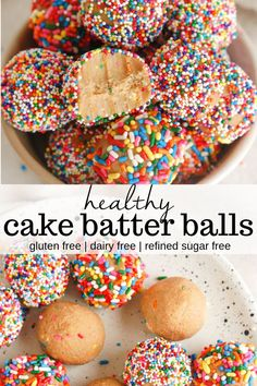 Looking for a healthy cake batter balls recipe that is completely gluten free, vegan, tastes like cookie dough, and can also be a protein packed dessert? This five ingredient no-bake recipe is perfect for kids and can be made in five minutes or less. Healthy Sweets, Healthy Dessert Recipes, Gluten Free Desserts, Healthy Baking, Vegan Desserts, Delicious Desserts, Yummy Food, Protein Desserts, Healthy Sweet Snacks