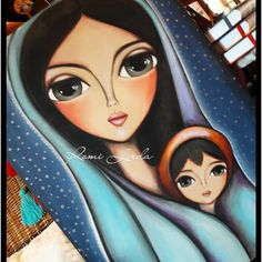 ,mother and child,; Art Painting Gallery, Indian Folk Art, Princess Drawings, Indian Paintings, Art Journal Inspiration, Whimsical Art, Religious Art, Fabric Painting, Art Pictures
