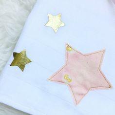 Lange bebe, 100% coton, avec etoile or et rose