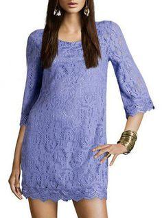 Sleeve Openwork Lace Dress Purple