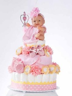 http://www.maggiescrochet.com/baby-shower-cakes-p-2189.html    Learn step-by-step to make three diaper cakes by Bendy Carter, each using approximately 72 newborn diapers. Then you can creatively decorate them with 21 crochet designs.     Skill Level: Easy to Intermediate