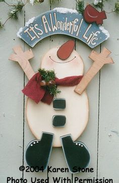 It's A Wonderful Life Snowman-Snowman, Karen Stone, Pretty Primitives, wood blanks, wood kits, wood crafts, tole painting, decorative painting