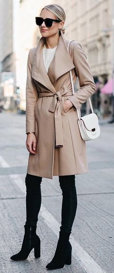 stylish look | nude coat + white top + bag + over the knee boots