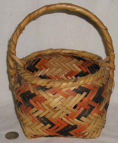 Antique, Native American, Choctaw Indian,  River Cane Basket w/Handle